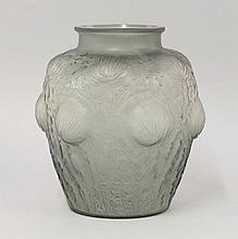 A Lalique 'Doremy' pattern topaz vase, moulded 'R