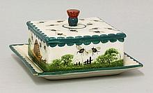 A Wemyss 'Beehive and Bees' honeycomb box, cover