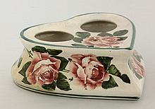 A Wemyss heart-shaped 'Cabbage Roses' inkstand,