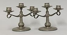 A pair of Liberty & Co. pewter three-branch