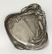A WMF pewter tray, moulded with a lady clutching