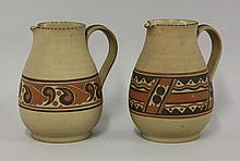 Two Carter Stabler Adams water jugs, decorated