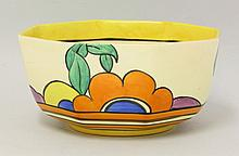 A Clarice Cliff 'Latona' bowl, of octagonal shape,