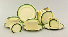 A Clarice Cliff Stamford breakfast set, decorated