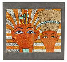 A Poole Pottery two tile Egyptian panel, a