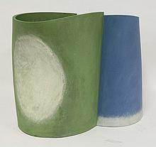 *A ceramic vessel, in blue, green and white, by