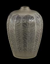 A Lalique 'Tournai' vase, moulded with stylised