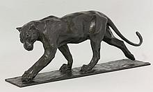 A bronzed resin model, 'Walking Panther', after