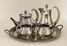 A Mappin & Webb four-piece silver-plated tea