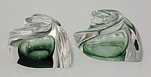 A pair of Val St Lambert glass candlesticks, 15cm