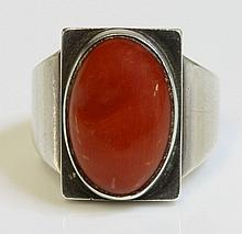 A cased silver coral ring by Georg Jensen, No.