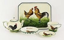 A Wemyss pottery 'Black Cockerel' items,