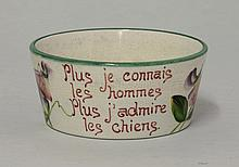 A Wemyss 'Sweet Pea' dog bowl, inscribed in