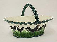 A Wemyss pottery 'Chickens' oval egg basket, the