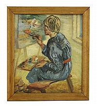 *Elvic Steele (1920-1997), THE ARTIST AT HER EASEL
