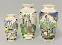 Three Poole vases, decorated by Karen Brown, each
