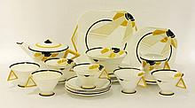 A Shelley 'Sunray' pattern six-piece tea set,