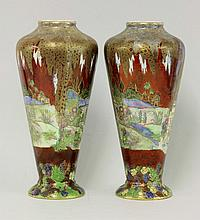 A pair of Wilton Ware lustre vases, pattern
