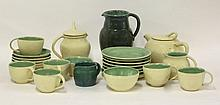 An Upchurch pottery tea set, each piece in a cream