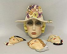 A Lenci pottery mask of Anna Karenina, by Sandro