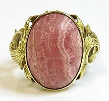 A Spanish single stone rhodochrosite gold ring,