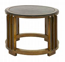 An Art Deco walnut and ebonised circular coffee