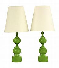 A pair of turned wood table lamps, in lime green