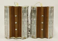 A pair of cruciform mottled glass hanging lights,