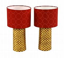 A pair of cylindrical parquetry table lamps, with
