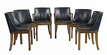 A set of six Art Deco walnut chairs, each with