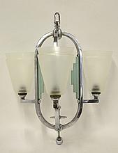 An Art Deco chrome three-branch ceiling light,