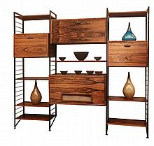 A rosewood Ladderax living room unit, 1960s, by