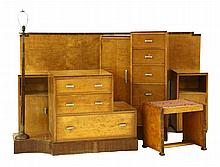 An Art Deco satinwood and walnut bedroom suite,