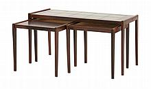 A Danish rosewood nest of coffee tables, 1960s,