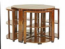An Art Deco walnut nest of tables, the pair of