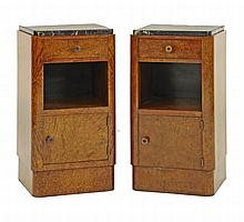 A pair of burr walnut bedside cupboards, each with