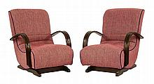 A pair of Art Deco rocking chairs, with stained