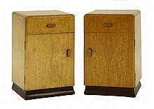 A pair of bird's-eye maple veneered bedside