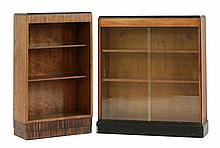 Two Art Deco walnut bookcases, each with ebonised