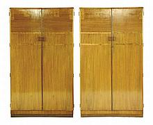 A pair of Art Deco walnut wardrobes, each with