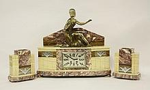 An Art Deco marble clock garniture, the clock