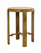 An Art Deco lamp table, the circular top raised on