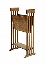 An oak magazine rack, with slatted sides, 42cm