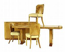 An Art Deco satinwood dining suite, comprising: a