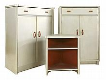An Art Deco aluminium-mounted bedroom suite,