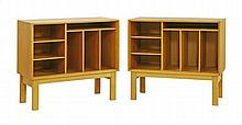 A pair of Danish oak bedside cupboards, each with
