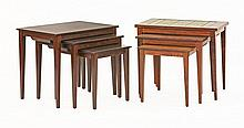 Two sets of three Danish rosewood coffee tables,
