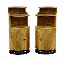 A pair of satinwood cylindrical pot cupboards,