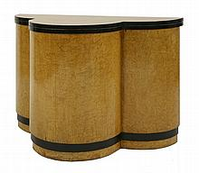 An Art Deco maple and ebonised console table, of