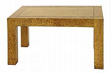 A burr elm and brass inlaid side table, labelled